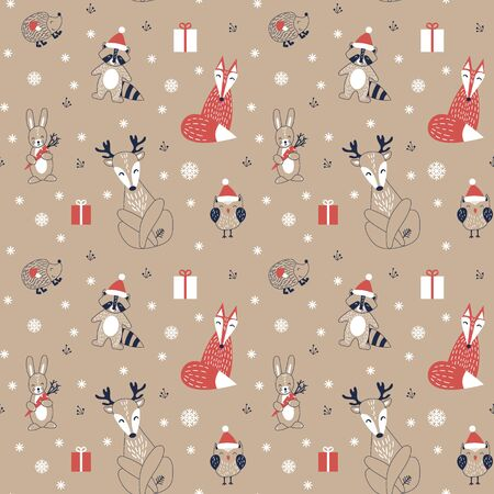 Christmas seamless pattern with cute cartoon woodland animals in scandinavian style. Funny characters on kraft background. Flat vector illustartion.