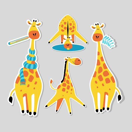 Stickers with cute cartoon giraffes. Funny african animals in different situations. Flat vector illustration. 일러스트