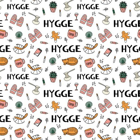 Seamless pattern with hygge hand drawn elements. Colored objects for cozy scandinavian design. Vector illustartion.