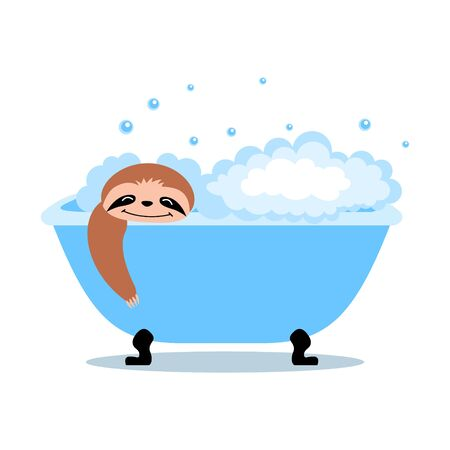 Cute cartoon sloth taking a bath. Flat vector illustration.