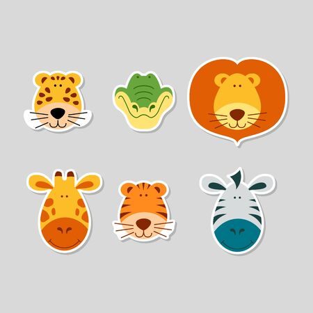 Cute cartoon animal faces set. Stickers with funny characters. Leopard, crocodile, lion, giraffe, tiger and zebra. Flat vector illustartion. Stock Illustratie