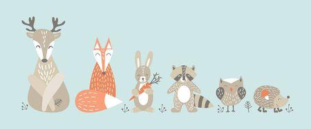 Set of cute cartoon woodland animals in scandinavian style. Funny characters on blue background. Flat vector illustartion. Illustration