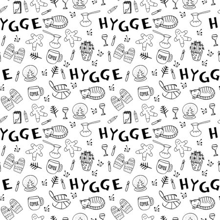Seamless pattern with hygge hand drawn elements. Outline black and white objects for cozy design. Vector illustartion.