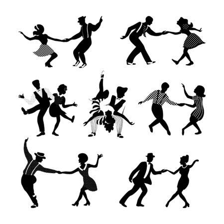 Rock'n'Roll- und Jazztanzpaare eingestellt. Schwingen Sie tanzende Silhouetten. Menschen im Stil der 1940er und 1950er Jahre. Retro-Schwarz-Weiß-Vektor-Illustration. Vektorgrafik