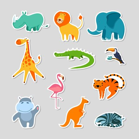Set of stickers with cute cartoon exotic animals. Children patches collection. Flat vector illustartion. Stock Illustratie