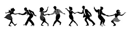 Banner with four black silhouettes of dancing couples on white background. People in 1940s or 1950s style. Vector illustration.