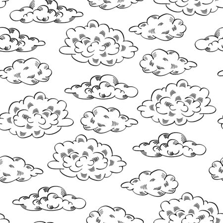 Seamless pattern with sketch clouds. Black hand drawn elements on white background. Vector illustration.