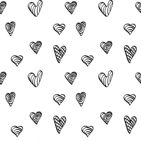 Simple seamless pattern with hand drawn heart shapes. Black doodle elements on white background. Vector illustartion. Illustration