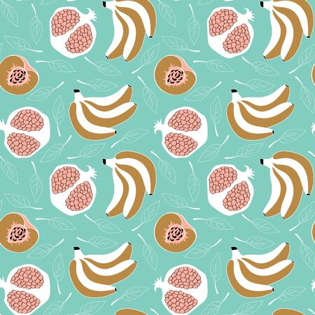 Seamless pattern with cute hand drawn fruits in trendy scandinavian style. Banana, pomegranate and peach. Vector illustartion. Ilustracja