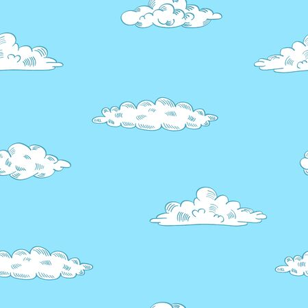 Sky seamless pattern with hand drawn clouds. Outline elements on blue background. Vector illustration.