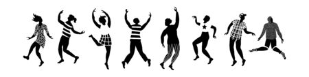 Horisontal banner with black and white silhouettes of dancing people. Set of different poses isolated on white background. Vector illustartion.