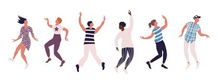 Horizontal poster with colored figures of dancing people. Set of different poses isolated on white background. Vector illustration.
