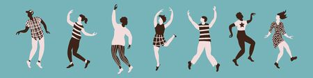 Horizontal poster with international dancing poses silhouettes. Set of people isolated on blue background. Vector illustration.