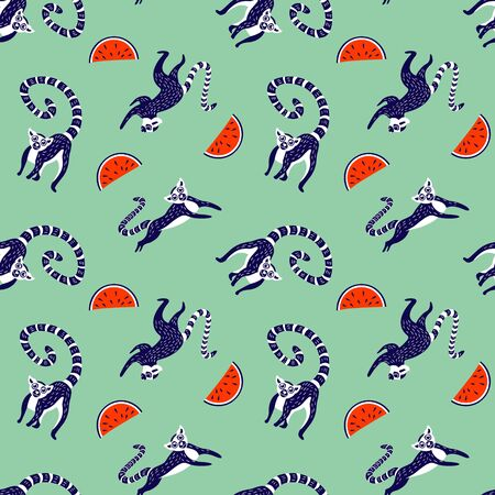 Seamless pattern with cute lemurs and watermelon. Animals and fruits in trendy colors. Vector illustration.