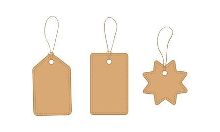 Set of blank price tags with rope isolated on white background. Craft paper gift labels. Flat vector illustration.