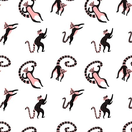 Seamless pattern with cute lemurs. Black and pink animals on white background. Flat vector illustration.