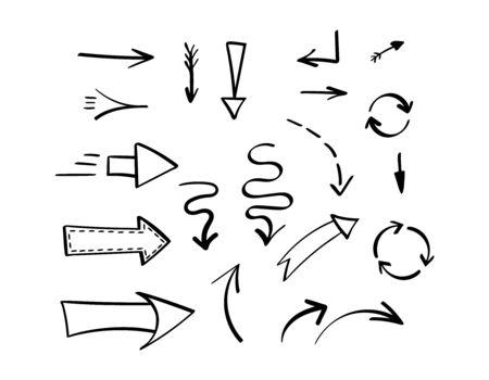 Insieme delle frecce disegnate a mano nere differenti. Illustrazione vettoriale. Vettoriali