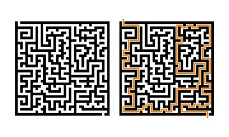 Logical game with solution. Children maze. Square labyrinth with entry and exit. Black lines on white background. Vector illustration.