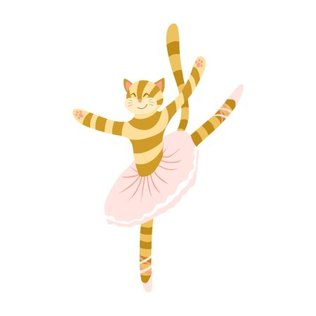 Cute cartoon cat ballet dancer. Funny animal character in tutu skirt and pointes. Flat vector illustration.