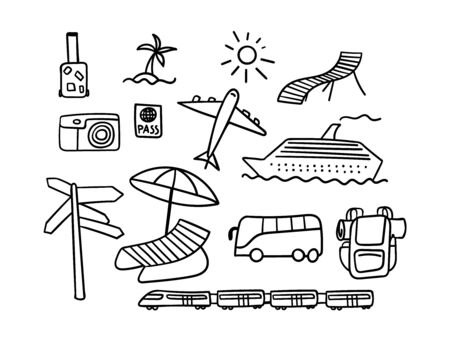 Set of hand drawn travel icons. Black outline objects isolated on white background. Vector illustration.