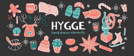 Horisontal banner with hygge hand drawn elements. Outline objects on dark background for cozy design. Vector illustartion. Ilustração