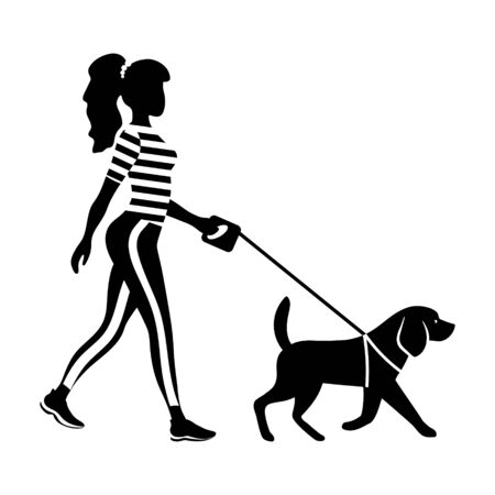 Woman walking her dog silhouette. Slender young girl with pet. Black figure with white details. Profile view. Flat vector illustration.