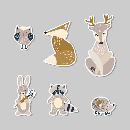 Set of cute cartoon woodland animals in scandinavian style on stickers. Flat vector illustartion.