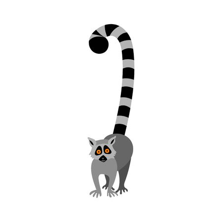 Cute cartoon lemur with big orange eyes. Exotic Madagascar animal in front view. Flat vector illustration.