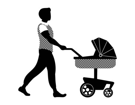 Young father walking with his baby in stroller. Man babysitter with pram. Black and white vector illustration in simple style.