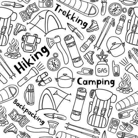 Hiking or backpacking seamless pattern. Countryside sport background. Camping doodle print. Black and white. Vector illustration. Stock Illustratie