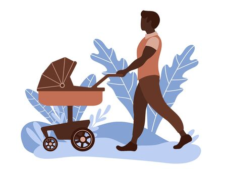 Young dad walking with his baby in stroller. Man babysitter with pram in the park. Flat vector illustration.