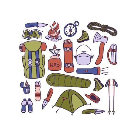 Hiking and backpacking equipment collection. Trekking hand drawn icons. Outdoor activity doodles. Vector illustration.