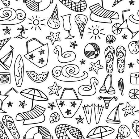 Seamless pattern with summer hand drawn icons on white background. Beach doodles print. Vector illustration.