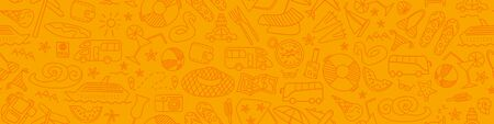 Seamless horizontal pattern with summer travel hand drawn icons on orange background. Vector illustration.