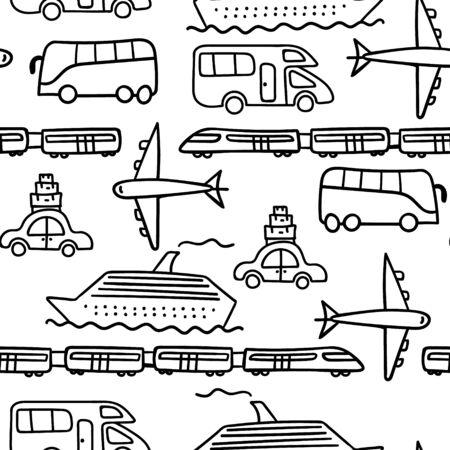 Doodle transport seamless pattern on white background. Vector illustration.