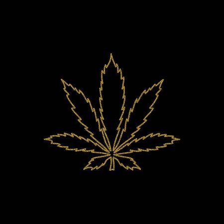 Gold glitter outline cannabis leaf on black background. Vector illustration.