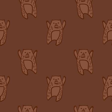Woodland seamless pattern. Cute doodle bears in simple scandinavian style. Vector illustration.