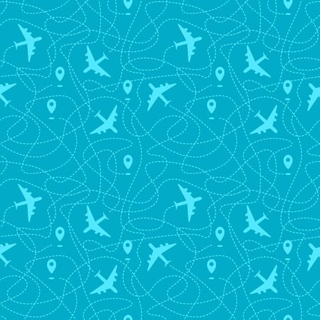 Seamless pattern with plane paths, start points and dashed routes. Blue travel background. Vector illustration.