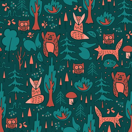 Woodland animals and trees seamless pattern. Cute hand drawn characters on dark green background. Vector illustration.