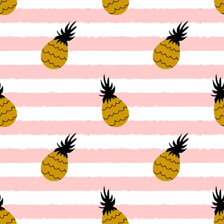 Pineapple seamless pattern with pink stripes. Tropical fruit on white background. illustration.