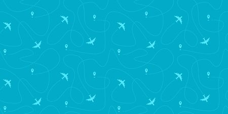 Seamless horizontal border with plane paths, start points and dashed routes. Blue travel background. illustration.