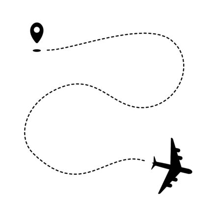 Plane path with geotag point and dashed track. Black silhouette isolated on white background. Vector illustration.