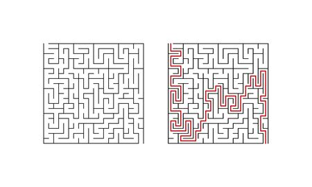 Labyrinth maze game for children. Complex puzzle with solution. Vector illustration.