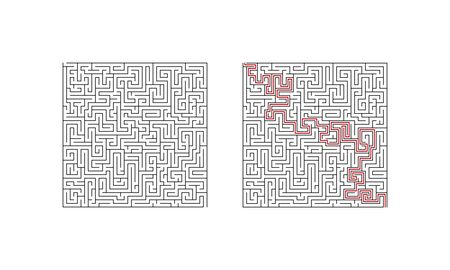 Difficult labyrinth maze game. Complicated puzzle with solution. Find the right way. illustration.