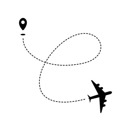 Plane path with geotag and dashed route. Black silhouette isolated on white background. Vector illustration. Иллюстрация
