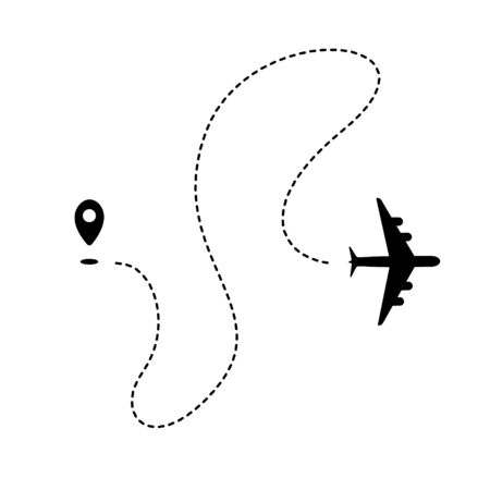 Plane path with start point and dashed route. Airlines graphic. Black silhouette isolated on white background.  illustration. Illustration