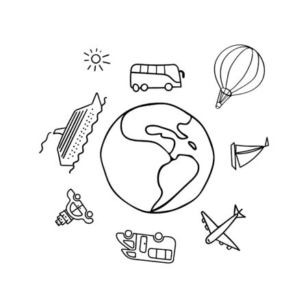 Transportation hand drawn icons around the planet Earth. Travel doodle concept. Vector illustration.