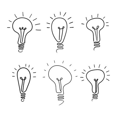 Electic light bulb doodle pictograms collection. Set of idea symbols isolated on white background. Vector illustration. Illustration