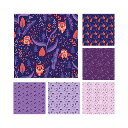 Woodland seamless patterns collection. Cute textile design for children fabric. Vector illustration.
