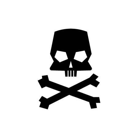 Skull and crossbones silhouette isolated on white background. Vector illustration. 일러스트